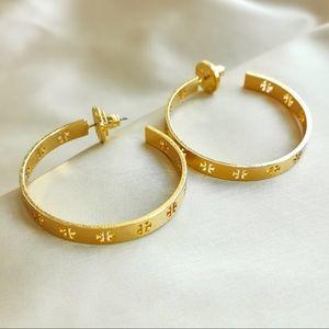 Tory Burch Gold T logo hoop earrings